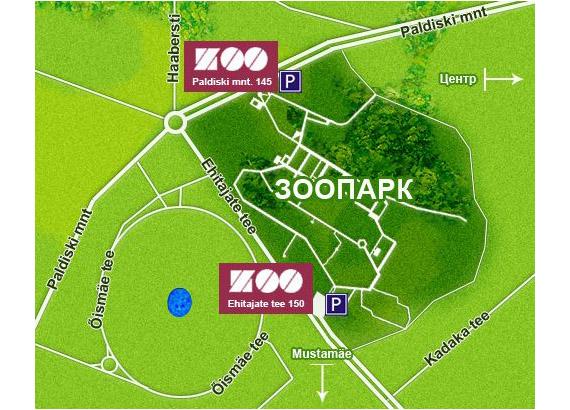 Месторасположение Таллинского Зоопарка